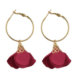 E-4444 6 Colors Fahsion Alloy Cloth Material Flower Earrings Trendy Jewelry