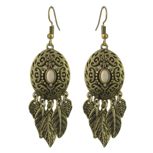 E-4441 Bohemian Gold plated Alloy Turquoise Leaves Drop dangle earrings Woem's Engagement Gift