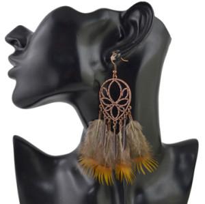 E-4448 Bohemian Brown Feather Long Drop Earrings for Women Wedding Party Fashion Jewelry