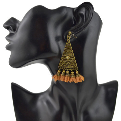 E-4452 Ethnic New fashion 4 colors Vintage Pattern Bronze Plated Alloy Pyramid Shape Crystal Chiffon Flower Pendant Drop Earrings for Women Jewelry