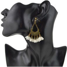 E-4453 5 Colors Fahsion Alloy Cloth Material Flower Earrings Trendy Jewelry
