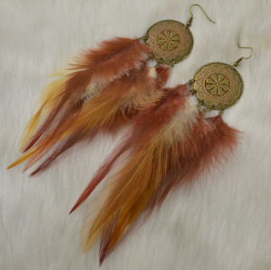 E-4450 3Colors Bohemian Brown Blue Black Feather Long Drop Earrings Wedding Party Fashion Jewelry