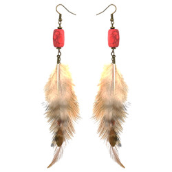 E-4451 Bohemian Vintage Bronze Alloy Turquoise Feather Long Drop Earrings