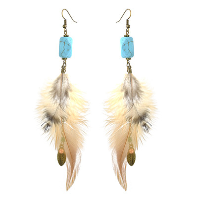 E-4451 Bohemian Vintage Bronze Alloy Turquoise Feather Long Drop Earrings