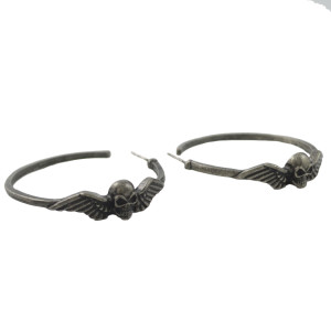 E-4455 Retro Punk Gun Black Hoop Earring Skull Design for Women