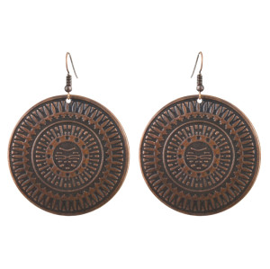 E-4456 Ethnic Vintage Gold Plated Round Alloy Drop Dangle Earrings For Women's Engagement Gift