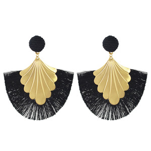 E-4457 Fashion Fan-shape Gold Plated Alloy Button Thread Drop Dangle Earrings For Women's Engagement Gift