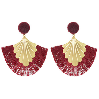 E-4457 Fashion Fan-shape Gold Plated Alloy Button Thread Drop Dangle Earrings For Women's Engagement Gift