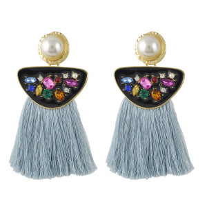 E-4458 Bohemian Fringe Earrings Exaggerated Inlaid Crystal Rhinestone Colorful Tassel Pearl Earrings