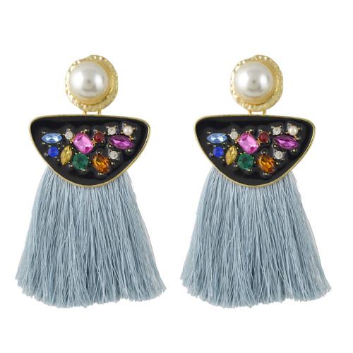 E-4458 Bohemian Fringe Earrings Exaggerated Inlaid Crystal Rhinestone Colorful Tassel Pearl Earrings