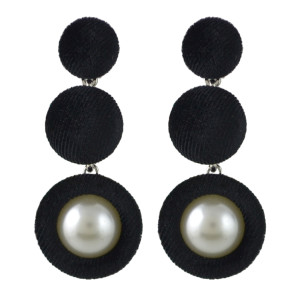 E-4459 5 Colors Pearl Pom Pom Ball Statement Drop Earrings for Women Ladies Weddding Party Fashion Accessories