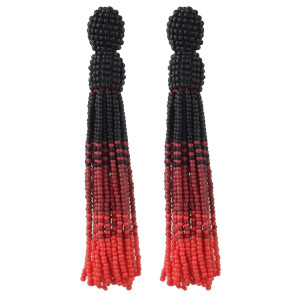 E-4463 Handmade Statement Earring Bohemian Beaded Long Tassels Elegant Earrings