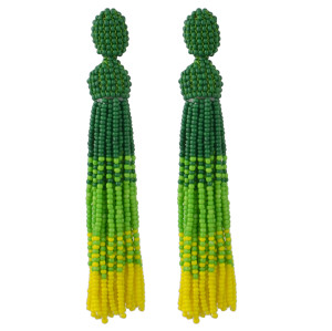 E-4463 * Handmade Statement Earring Bohemian Beaded Long Tassels Elegant Earrings