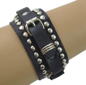 B-0875 Punk Women Men White Black Leather Adjustable Bracelets Charm Jewelry Fashion Accessories