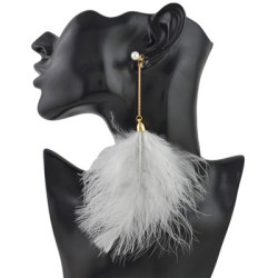 E-4464 2 Styles 3 Colors Bohemian  Alloy pearl Feather Long Drop Earrings Trendy Jewelry