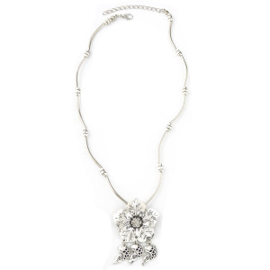 N-6974 New Fashion Silver Plated Alloy Flower fish pendant Necklace