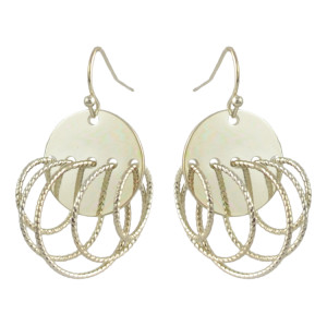 E-4465 Bohemian Smooth Gold Plated Drop Dangle Circle Earrings Women's Engagement Accessories