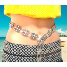 N-6975 New Fashion Vintage Silver Waist Chain Flower Bells Metal Tassel  Belly Chain  Charm Belt Chains Body Jewelry
