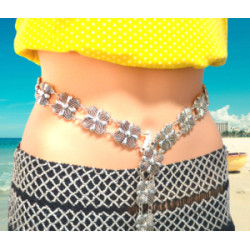 N-6975 New Fashion Vintage Silver Waist Chain Flower Bells Metal Tassel  Belly Chain  Charm Belt Chains Body Jewelry