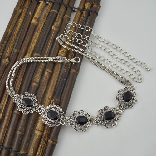 N-6977 New Fashion Silver Plated Alloy Crystal Flower Waist chain Jewelry