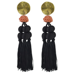 E-4471 6 Colors Gold Metal Beads Statement Thread Ball Drop Earrings for Women Bohemian Party Jewelry