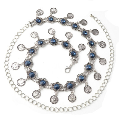 N-6985 3 Styles Pearl diamond silver plated gold plated trendy Flower Waist chain Jewelry