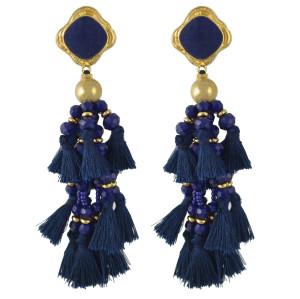 E-4469 Bohemia Statement Earring Long Fringe Tassel Thread Handmade Beaded Drop Earrings for Women