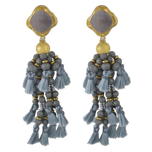 E-4469 Bohemia Statement Earring Long Fringe Tassel Thread Handmade Beaded Drop Earrings for Women