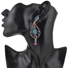 E-4466 Fashion & Home & Living Earring Party Earring Silver Plated Rhinestone Drip Earring