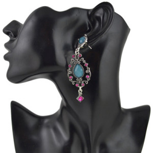 E-4466 Fashion & Home & Living Earring Party Earring Silver Plated Rhinestone Drip Earring