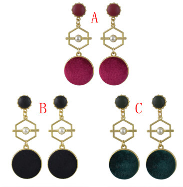 E-4467 3 Colors Gold Metal Velvet Ball Long Drop Earrings for Women Ladies Party Fashion Accessories
