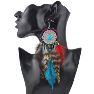 E-4470 Bohemia Statement Earring Feather Acrylic Stone Long Metal Tassel Handmade Resin Beaded Pendant Drop Dangle Earrings for Women Jewelry