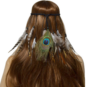 F-0476 Bohemian Handmade Ethnic Gypsy Wood Beads Feather Peacock Hairband Hair Clip Hair Jewelry