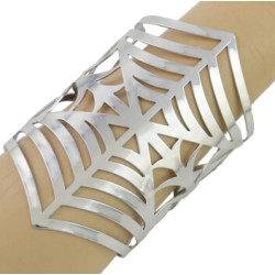 B-0874 Silver  opened cuff hollow out Spider webs bangle women