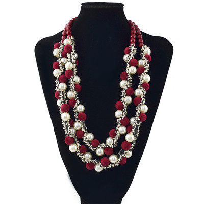 N-6990 3 Colors Fashion Pearl Hair Ball Beads Choker Bib Necklace Women Jewelry