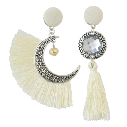 E-4477 6 Colors New Fashion beautiful Silver Plated Alloy cloth Crystal Thread pendant Drop Earrings