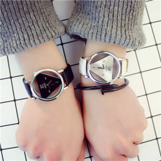 B-0876  Simple Triangle Watch Personal Fashion Double Sided Hollow Student Lovers Watch