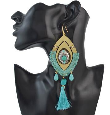 E-4486 New Fashion Gold Metal Thread Long Tassel Drop Earrings for Women Bohemian Party Fashion Jewelry