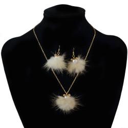 N-6997 Cute Raccoon Pearl Fur Ball Drop Earrings Bear Plush Pendant Necklace Earring Jewelry Set