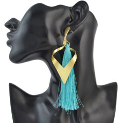 E-4491 New Fashion Gold Metal Thread Long Tassel Drop Earrings for Women Bohemian Party Fashion Jewelry