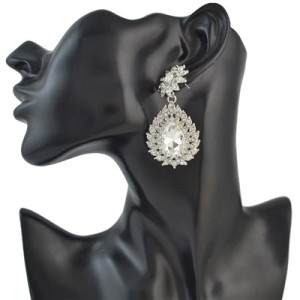 E-4494 7 Colors Fashion Drops Water Rhinestone Gemstone Flower Earrings