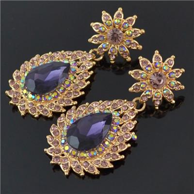 E-4494 8 Colors Fashion Drops Water Rhinestone Gemstone Flower Earrings