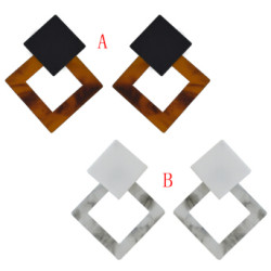 E-4484 2 Colors Women Bohemian Rhombus Acrylic Drop Dangle Earrings Jewelry Wedding Party