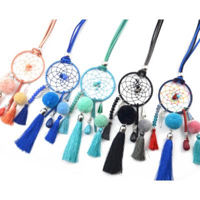 N-7001 Bohemian Style Dream Catcher Net Pompon Ball Thread Tassel Statement Necklace For Women Engagement Gift