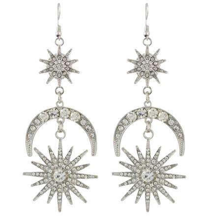 E-4487 Fashion Moon Sun Shape Crystal Long Drop Earrings for Women Ladies Party Jewelry
