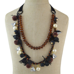 N-7004 3 Colors Fashion Pearl  Acrylic diamonds hairs Ball Beads Choker Bib Necklace Women Jewelry