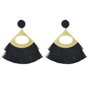 E-4496 5 Colors Fashion Gold Plated thread fan shape Drop Dangle Earrings Jewelry