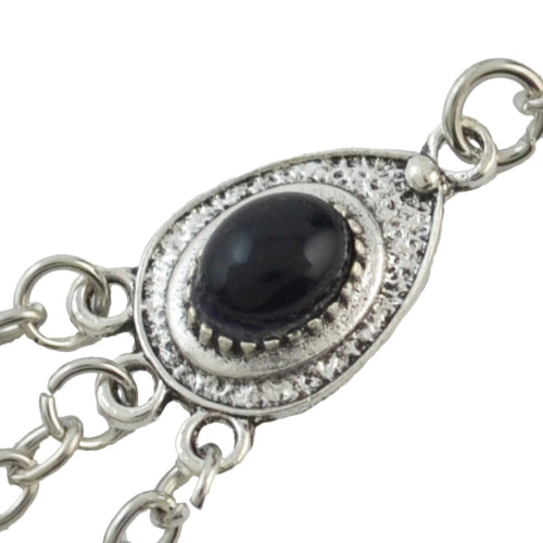 B-0879 3 Colors Bohemian Retro Silver Plated Alloy Inlay Resin Coin Beads Pendant Hand Chain Ring Bracelet For Women
