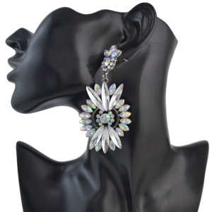 E-4495 2 Colors Luxury Fashion  Black guns Metal Drops Water Rhinestone Crystal  Flower Earrings