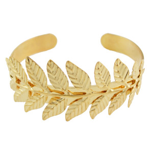 B-0877 Fashion Gold Plated Leaf Open Bangle Cuff Bracelet for Women